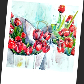 Red Tulips In A Bag