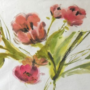Tulips on rice paper